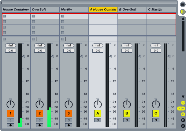 Ableton Live Matrix Mixer Channels