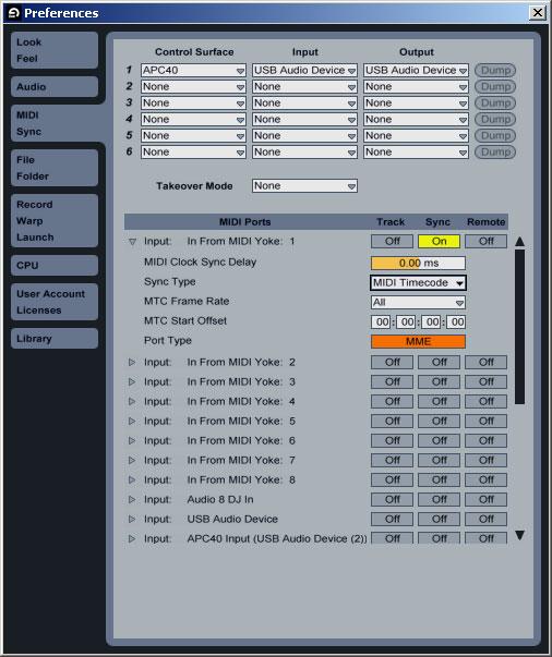 Ableton Live Preferences MIDI Sync